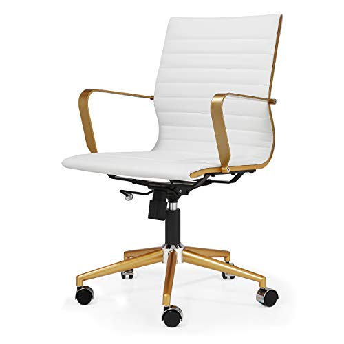 MEELANO 344-GD-WHI Office Chair, Gold/White
