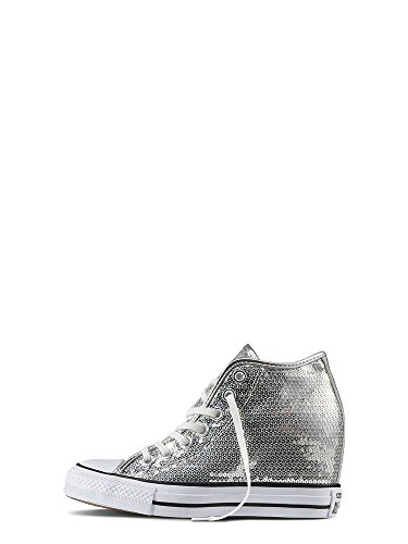 Scarpa Converse Chuck Taylor All Star mid paillettes argento