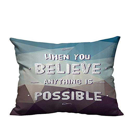 Decorative Throw Pillow Case When You Lieve Anything is Possible quot gBackground Modern Ideal Decoration(Double-Sided Printing) 19.5x60 inch