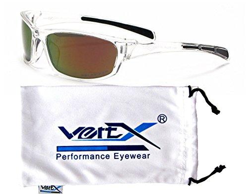 VertX Men's Polarized Sunglasses Sport Cycling Running w/Free Microfiber Pouch - Clear Frame - Orange Lens