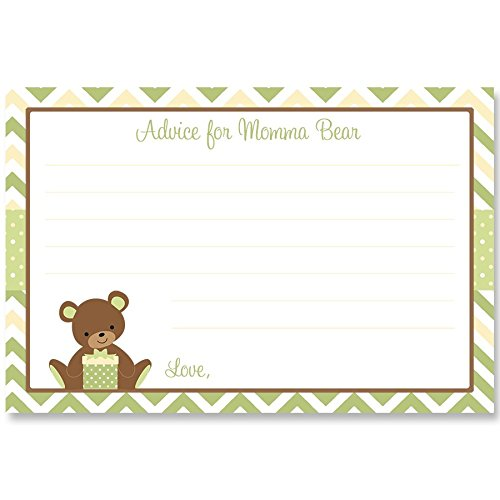 Teddy Bear, Baby Shower, Advice for Mommy Cards, Chevron Stripes, Baby Boys, Brown, Green, Cub, Sprinkle, Kids, Set of 24 Printed Note Cards, Advice, Mommy to Be, Chevron Teddy Bear (Set Chevron Stationery)