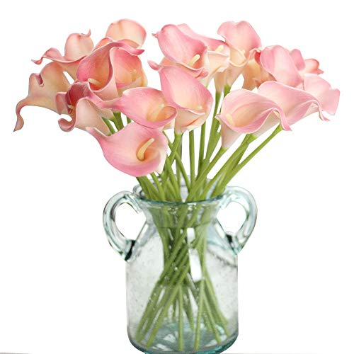 - Artificial Flowers, Fake Flowers Silk Plastic Artificial Calla Lily Bridal Wedding Bouquet for Home Garden Party Wedding Decoration 12Pcs (Pink)