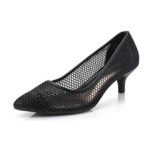 Mesh Ladies Pumps - FOOTSELF Dunion Brilliant Women's Fashion Elegant Comfortable Pointed Toe Kitten Heel Breathable Dress Party Wedding Pump,Brilliant Black,6 M US