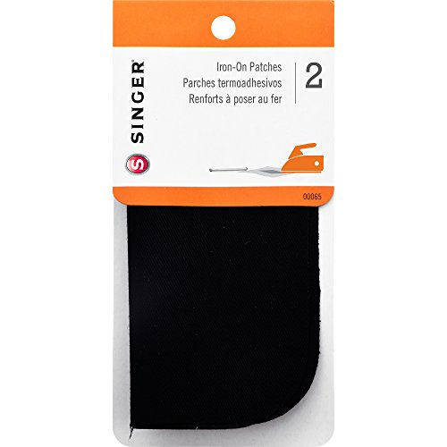 (SINGER 00065 Iron-On Patches for Clothing Repair, 5-inch by 5-inch, 2-Count, Black)
