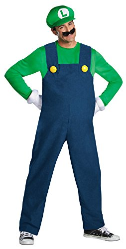 UHC Men's Deluxe Super Mario Brothers Luigi Theme Party Costume, XXL (50-52) (Super Villain Costumes For Men)