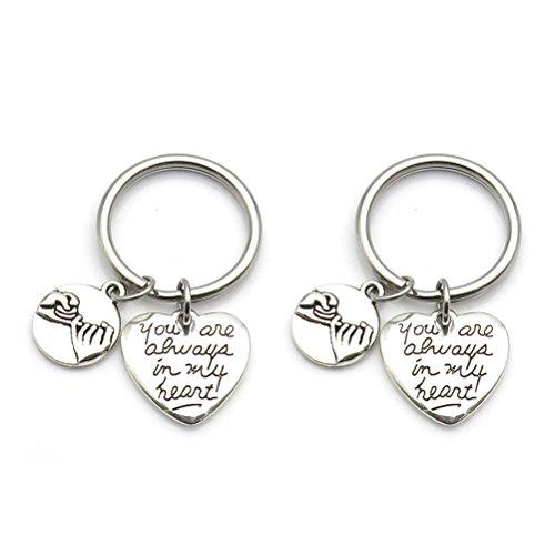 IDLAN Boyfriend Girlfriend His Hers Necklaces or Keychains Pinky Promise Pinky Swear Always in My Heart -