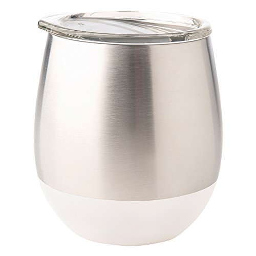 U-Konserve - Insulated Stainless Steel Wine Tumbler, Keeps Beverages Hot or Cold, Environment Friendly Glassware, Alternative to Breakable Glass (8 oz, White)