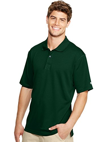 Double Placket (Champion Double Dry Men's Solid-Color Polo Shirt,Green,3XL)