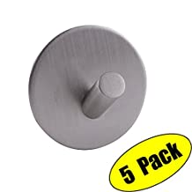 KES SUS 304 Stainless Steel 3M Self Adhesive Hooks Key Rack Garage Storage Organizer Stick On Sticky Bathroom Kitchen Towel Hanger Wall Mount Contemporary Style 5 Pack, Brushed Finish, A7066-P5