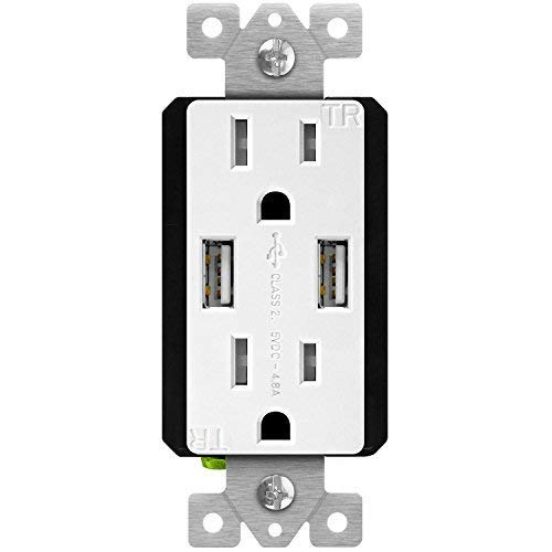 TOPGREENER 4.8A High Speed USB Wall Outlet, 15A Tamper-Resistant Receptacles, Compatible with iPhone XS/MAX/XR/X/8/7, Samsung Galaxy S9/S8/S7, LG, HTC Other Smartphones, UL Listed, TU21548A