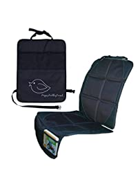 Child Car Seat Protector Makes Cleaning Up Your Car Easier! Thick Padding Preserves Upholstery to Retain Value of Vehicle! Included Kick Mat Organizer Allows Easy Access to Baby Items! (Single, Black) BOBEBE Online Baby Store From New York to Miami and Los Angeles