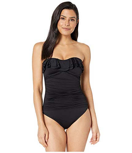 (La Blanca Women's Island Goddess Ruffle Bandeau Mio One Piece Swimsuit, Black, 8)