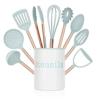 Cook With Color 10 Piece Nylon Cooking Utensil Set with Holder, Kitchen Tools and Gadgets with Rounded Copper Handles - Mint