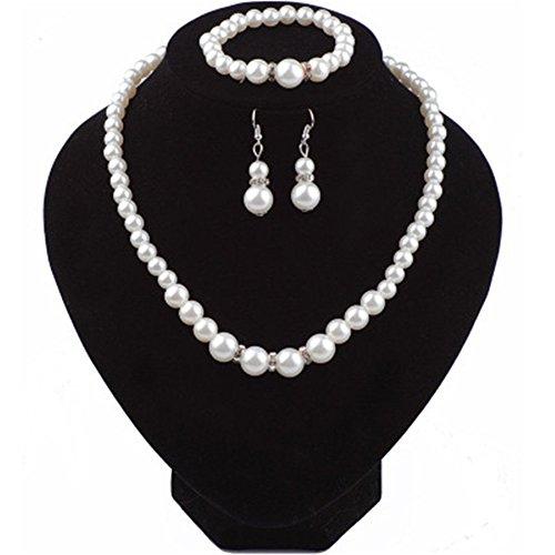 Rurah Fashion Pearl Crystal Necklace, Bracelet & Earrings Set for Women ()