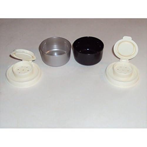 Tupperware Mini Smidgets Personal Salt Pepper Shakers Black Silver