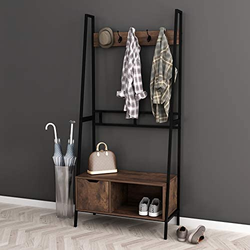 NA Nutmeg Brown Finish Black Frame Entryway Hall Tree Coat Hanger Shoe Rack Storage Bench with 5 Hooks