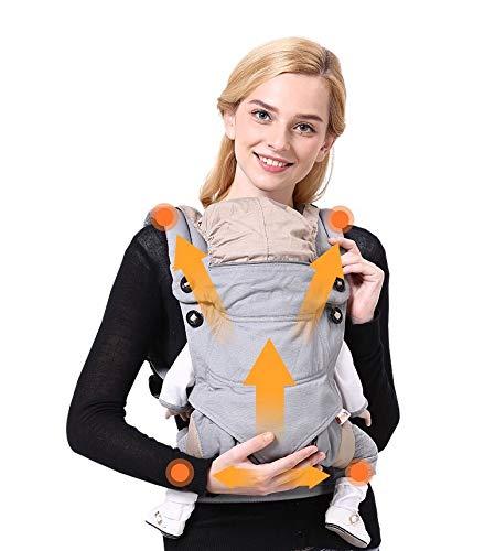 Adapte los portabeb/és delanteros y traseros con capucha y asiento de cadera ajustable All Seasons Cotton Baby Carrier Wrap Multi-Position Infants Nursing