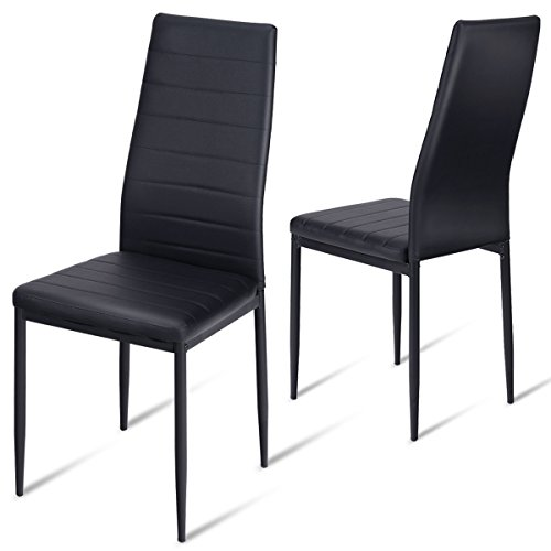 Giantex Dining Side Chairs Set of 2 High Back PU Leather Elegant Design Home Kitchen Furniture Black (2) (High Side Chair)