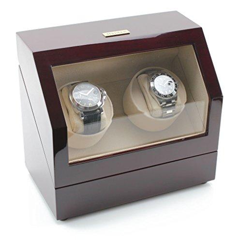 Heiden Battery Powered Dual Watch Winder in Cherrywood