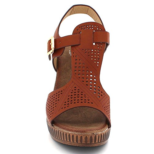 Brown Lightweight Comfort Sandals Ladies Womens Heel Block Casual Wear Summer LONDON Everyday Shoes AARZ Size High Super qpzaxF