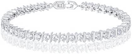 18k White Gold Plated Cubic Zirconia Round-Cut CZ Tennis Bracelet
