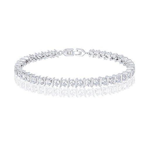 Orrous & Co. 18k Cubic Zirconia Tennis Bracelet - Beautiful White Gold Plated Round-Cut CZ Tennis Bracelet - Beautiful and Elegant Present Idea