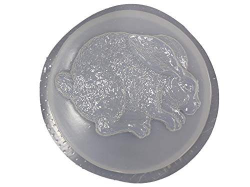 Round Bunny Rabbit Stepping Stone Concrete or Plaster Mold 1080