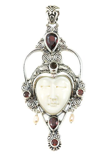 Sterling Silver Moon Face Goddess Necklace Pendant Simulated Garnet Freshwater Cultured Pearls Filigree ()