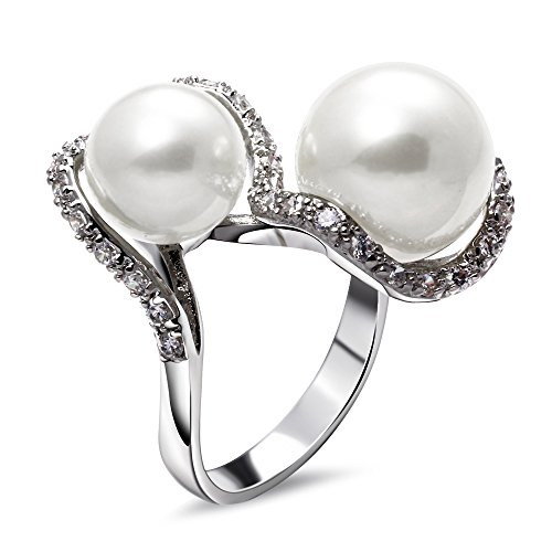 PSRINGS ladies copper Ring rhodium plated with Cubic zircon imitation pearl Rings designer jewelry 7.0