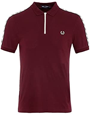 Men's Zip Neck Pique Polo Shirt Aubergine