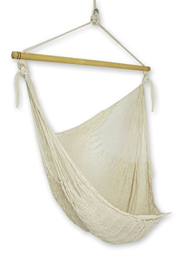 Handmade Mayan Hammock (NOVICA Natural Off White Cotton Woven Mayan Rope Hammock Swing Chair with Spreader Bar, Deserted Beach')