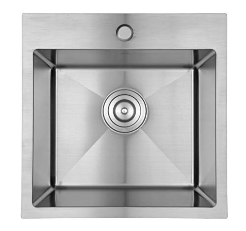 Starstar 18 inch Drop-in Topmount 304 Stainless Steel Single Bowl Bar/Kitchen/Laundry/Yard/Office Sink (Without Grid)