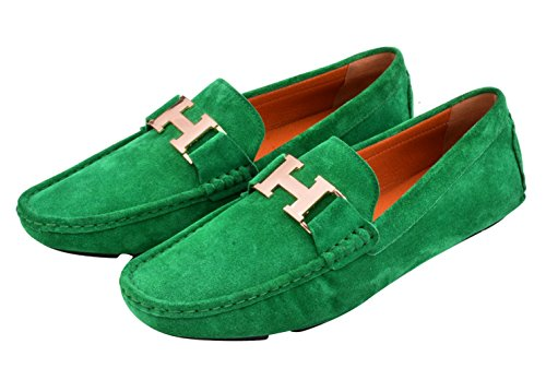 Santimon Mens Leather Buckle Loafers Driving Slip-on Casual Mens Car Shoes Moc Shoes green-gold VPU6Mz4p