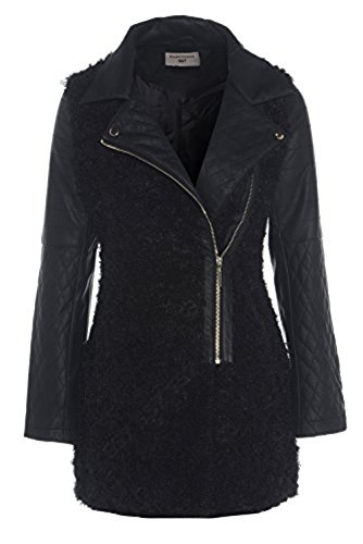 SS7 Women's Leather Biker Coat With Faux Fur Body, Black, Sizes 8 To 16 Black