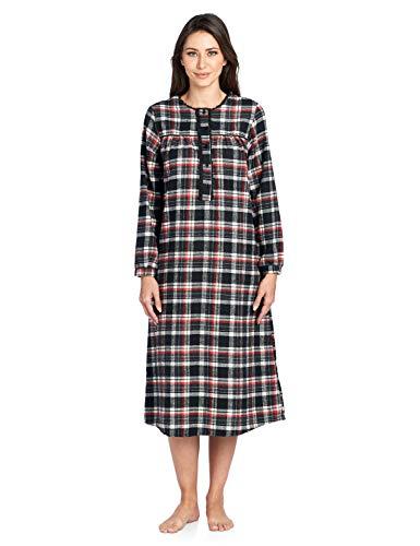 Flannel Lounger - Ashford & Brooks Women's Flannel Plaid Long Sleeve Nightgown, Black Ivory, XL