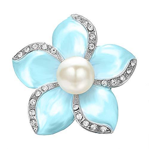 Yoursfs Brooch Huge Crystal Rhinestones Faux Pearl Rose Flower Brooch Blue