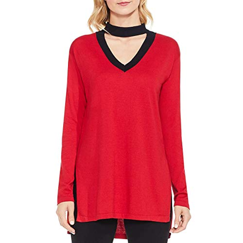VINCE CAMUTO Womens Long Sleeves V-Neck Choker Sweater Red L