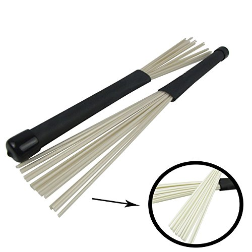 Drum Brush, 2 Pcs LLOP Professional Retractable Nylon Drum Brushes Jazz Percussion Cajon Brushes (Nylon, silver)