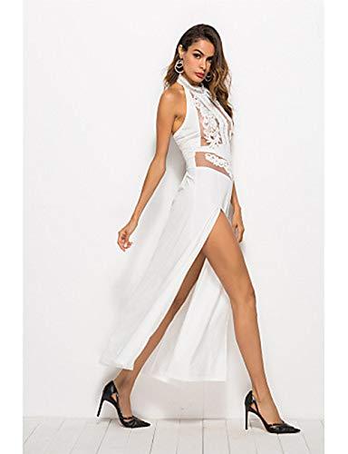 Vaina Delgado Festivos Cintura Maxi Otoño Alta Discoteca Mujer White Cuello Verano M Barco Vestido JIZHI xwIa5tq4