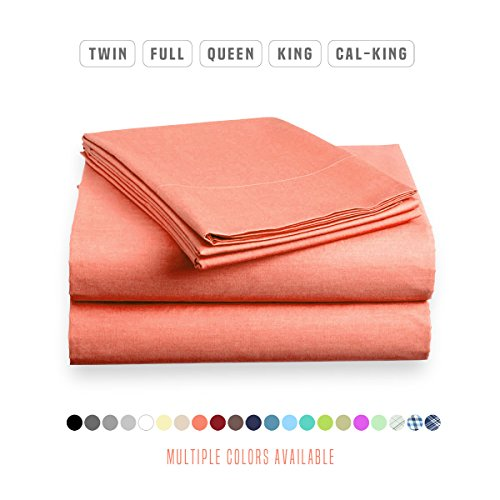 Luxe Bedding Sets - Queen Sheets 4 Piece, Flat Bed Sheets, Deep Pocket Fitted Sheet, Pillow Cases, Queen Sheet Set - Peach