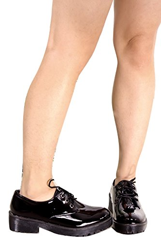 Young Aloud Studented Acent Look Casual Oxford Flat Zapatos Blkpt-sofie-02