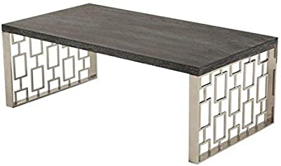 Armen Living LCSKCOBLMT Skyline Coffee Table with Charcoal and Chrome Finish
