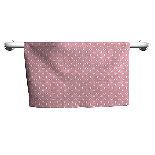 (Bath Towel Pink,Delicate Small Florets in White Feminine Elegant Genteel in Vogue Soft Design,Light Pink White,Shammy Towel for)