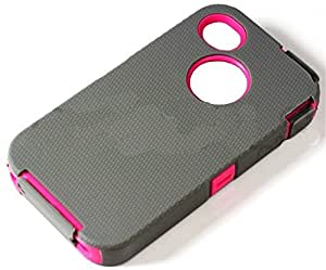 myLife Gray + Hot Pink Urban Armor (Built In Screen Protector) Hybrid Toughsuit Case for iPhone 5c (4G) 4th Generation Touch Phone (Thick Silicone Outer Shockproof Gel + Tough Rubberized Internal Shell)