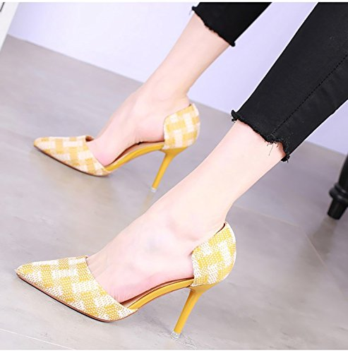 SSBY Chicas 9 5 Cm De Tacon Alto Primavera Nuevo Estilo Sharp Cabeza Zapatos De Tacon Fino Colorear Hollow Sola Marea Zapato yellow