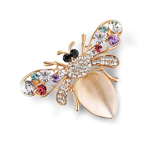 Zidzon Insect Bee Moth Dragonfly Crystal Rhinestone Enamel Multi Colored Fashion Jewelry Brooch Pin Gold Tone (Rose Gold, Alloy)