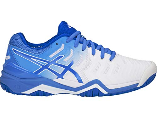 ASICS Women's Gel-Resolution 7 Tennis Shoes, 6M, White/Blue Coast