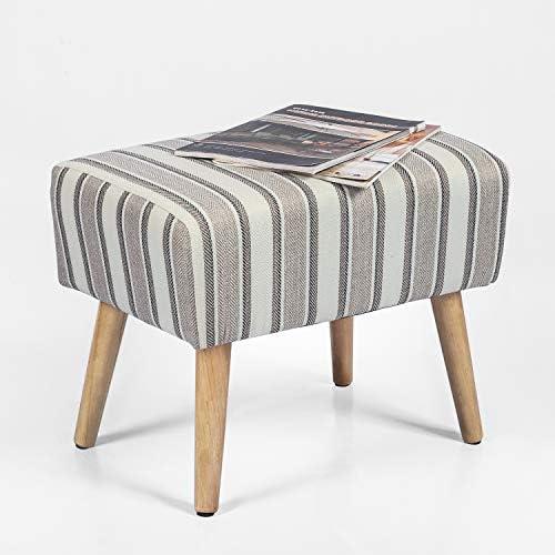 Adeco Modern Simple Nordic Stripes Ottoman Stool Seat