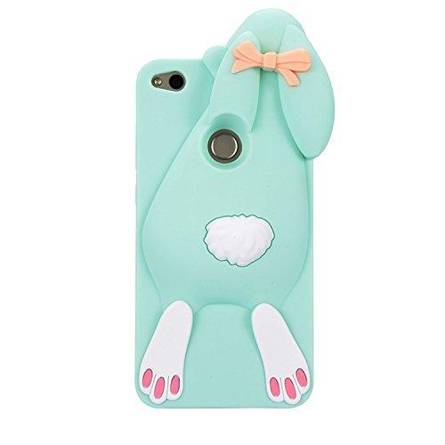 P8 Lite 2017 Conejo Case, Vandot Fashion 3D Lovely Cartoon Buck Teeth Bunny Rabbit Rubber Series Soft Silicone Back Case Cover para Huawei P8 Lite 2017 / P9 Lite 2017 / Huawei Nova Lite / Honor 8 Lite Bunny Green