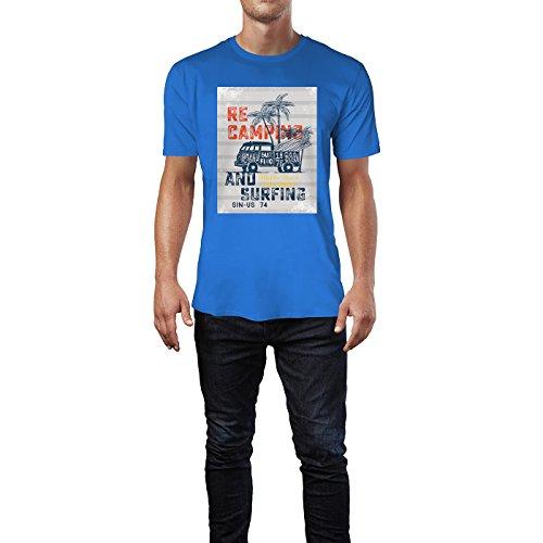 SINUS ART® Recamping and Surfing Herren T-Shirts in Blau Fun Shirt mit tollen Aufdruck